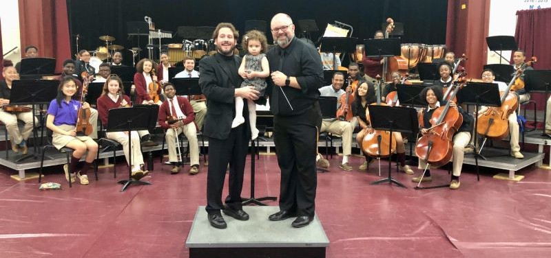 Spanish Opera Singer Mr. Israel Lozano with BMHS Director of Band & Orchestra, Mr. Anthony Conto and the BMHS Orchestra
