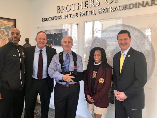 Mr. Morgan O'Brien, founder of Nextel, CEO of PdvWireless Visits BMHS. Pictured here left to right are Mr. Keith Veney's '92 Millionaires Club, BMHS President/CEO Dr. Marco Clark '85, Mr. Morgan O'Brien, Ayanna McCarley '20, and Director of Mission Advancement Dr. Robert Van der Waag.