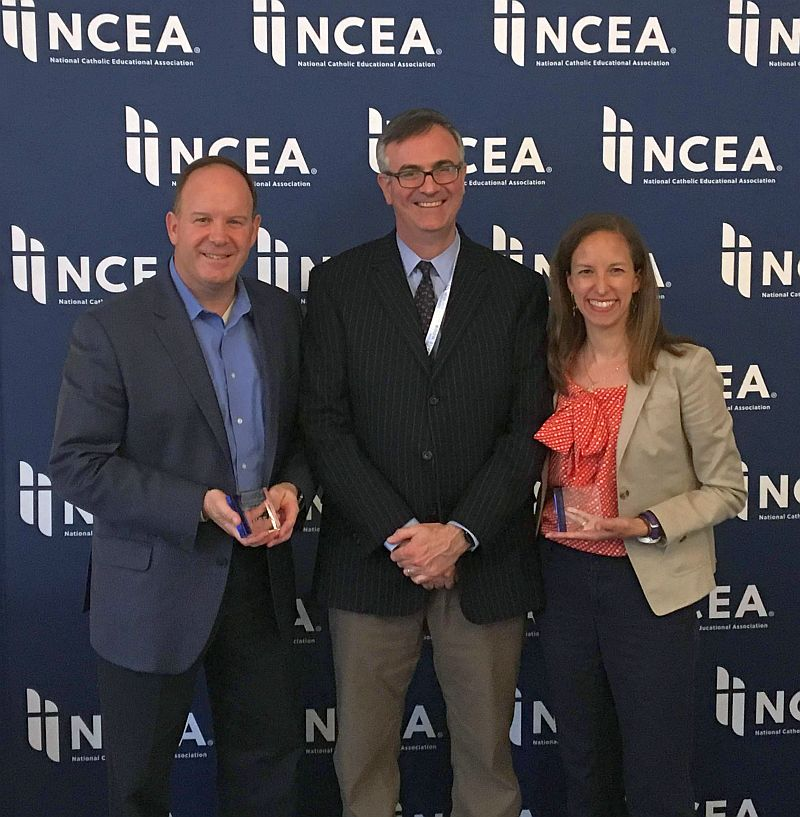 NCEA president recognizes Advisory Council service: President/CEO Dr. Marco Clark '85, President of NCEO Dr. Thomas Burnford, President of NCEA, and Mrs. Abigail Greer present at the NCEA Conference in Chicago