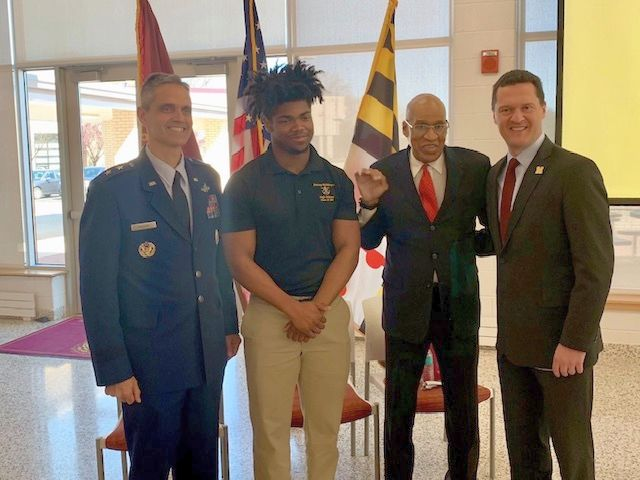 Left to right, Major General Steven L. Basham, United States Air Force, BMHS student Tyme Brit-Collins '19, Mr. Joseph Blue, Blue Realty Group, INC, Dr. Robert Van der Waag, Director for Mission Advancement