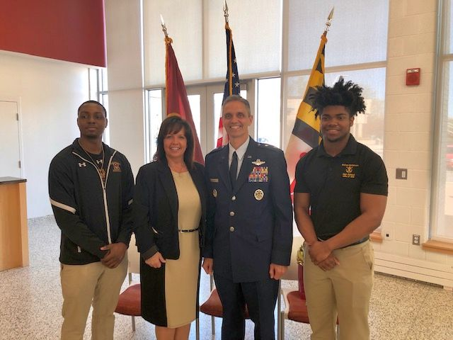 Bishop McNamara welcomes Major General Steven L. Basham,  the Director, Legislative Liaison, Office of the Secretary of the Air Force, the Pentagon, Arlington, Va. Shown here in this picture, Brookes Yates '18, Major General Basham, Sandy Mammano, Director of Development,and Tyme Brit-Collins '19