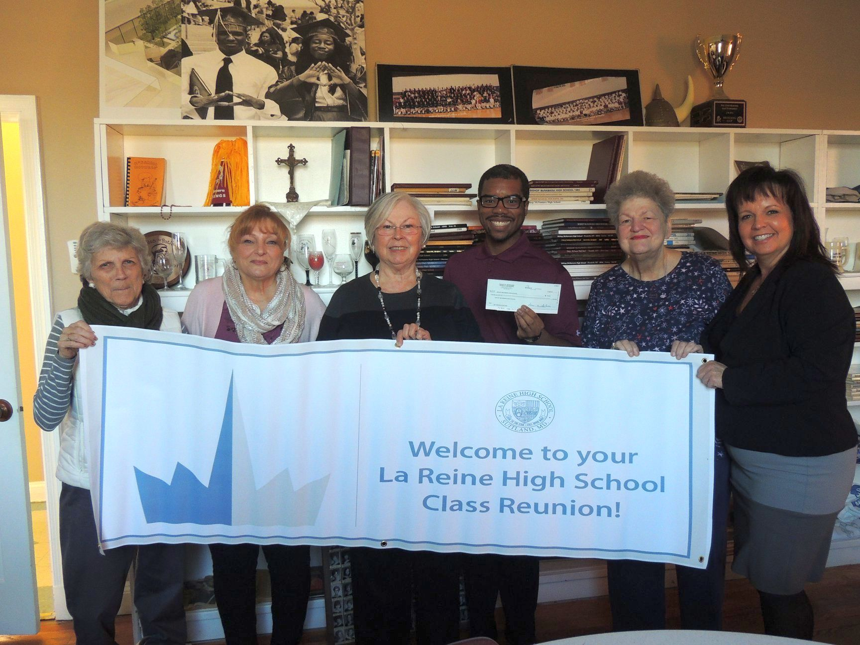 Pictured her with BMHS Principal Dr. Nigel Traylor and Development Director Sandy Mammano iare Mary Stokely LR '67, Diane M. DeCesaris LR '67, Diane Mangel LR '67 and Rosemary Treichel LR '67