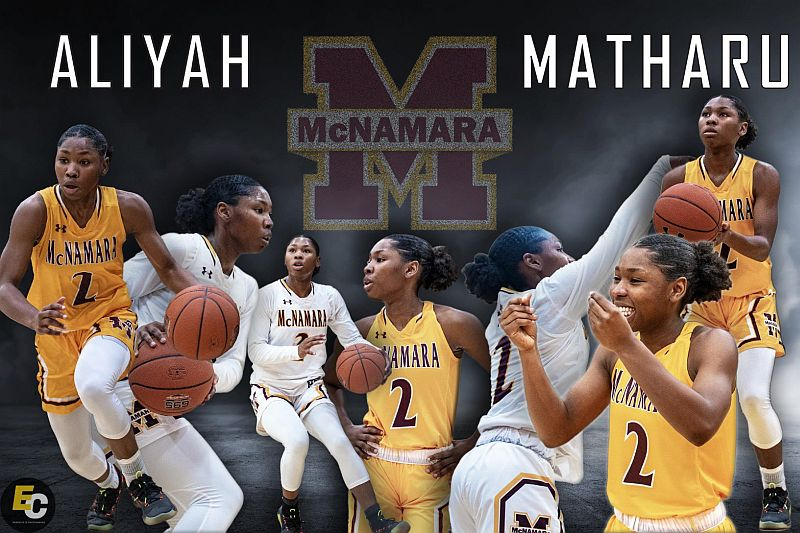 Aliyah Matharu '19 a 5-foot-7 senior combo guard who leads Bishop McNamara in scoring (16.6), steals (4.0) and assists (3.0).