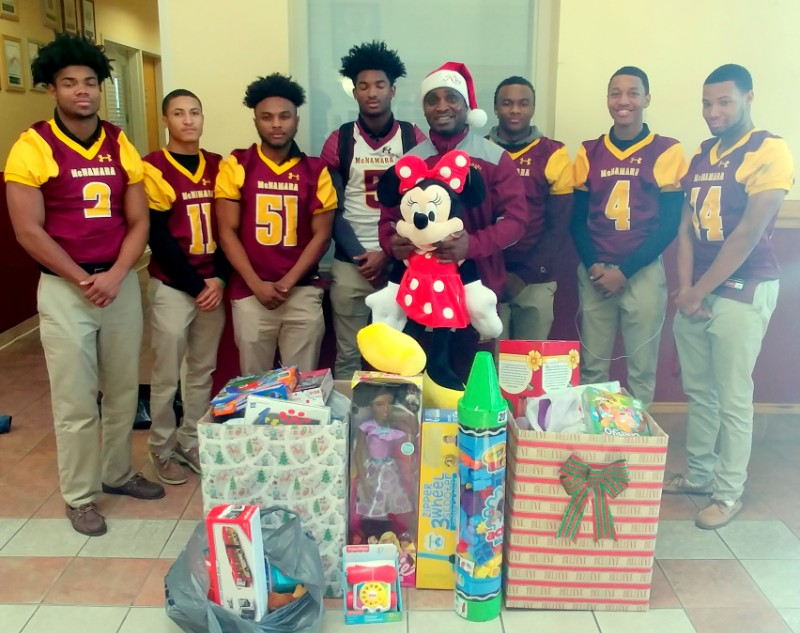 BMHS Football players under the direction of Coach Keita Malloy organized a toy drive for the patients at Chirldren's Hospital