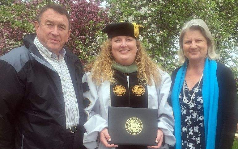 Dr. Jessica Nash (Dr. Jess) with her parents at her Doctoral Convocation at University of Idaho