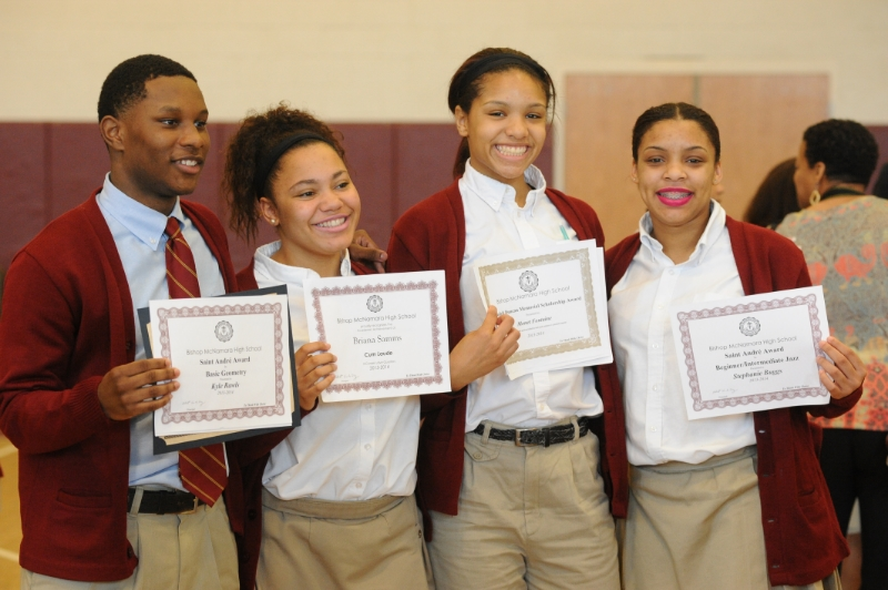 Honor Roll Students show off their honors certificates