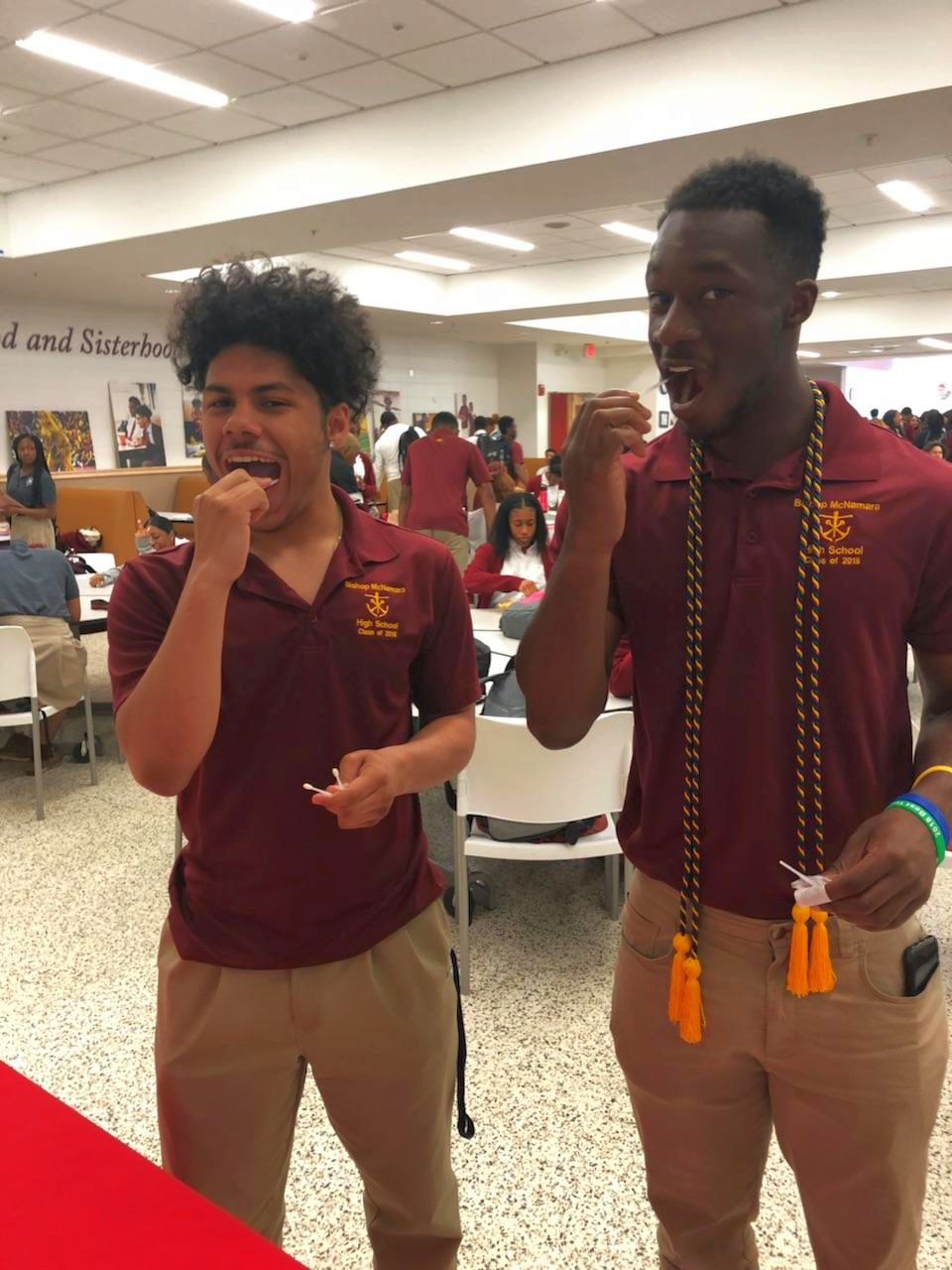 Seniors Jordan Daugherty and Arinze Okeke lead the way by being the first to swab on Senior Swab Day 2018  with There Goes My Hero organization at BMHS