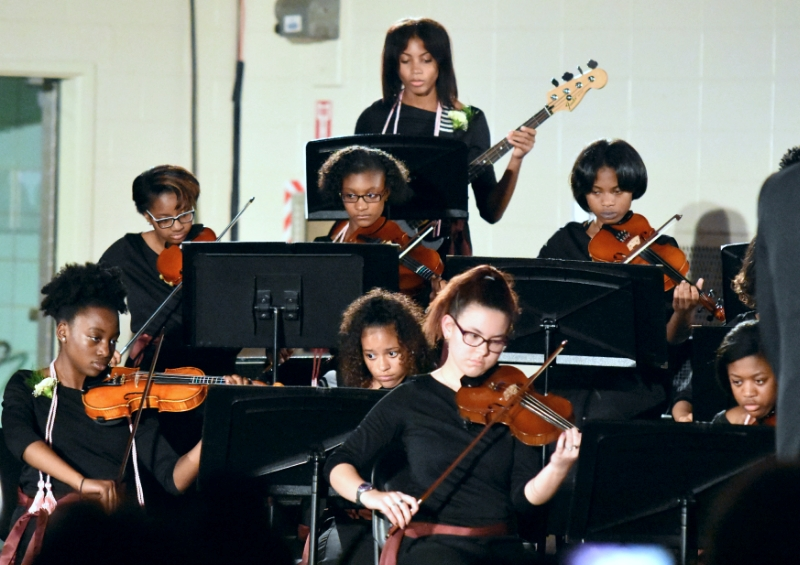 The BMHS Strings performs for the community
