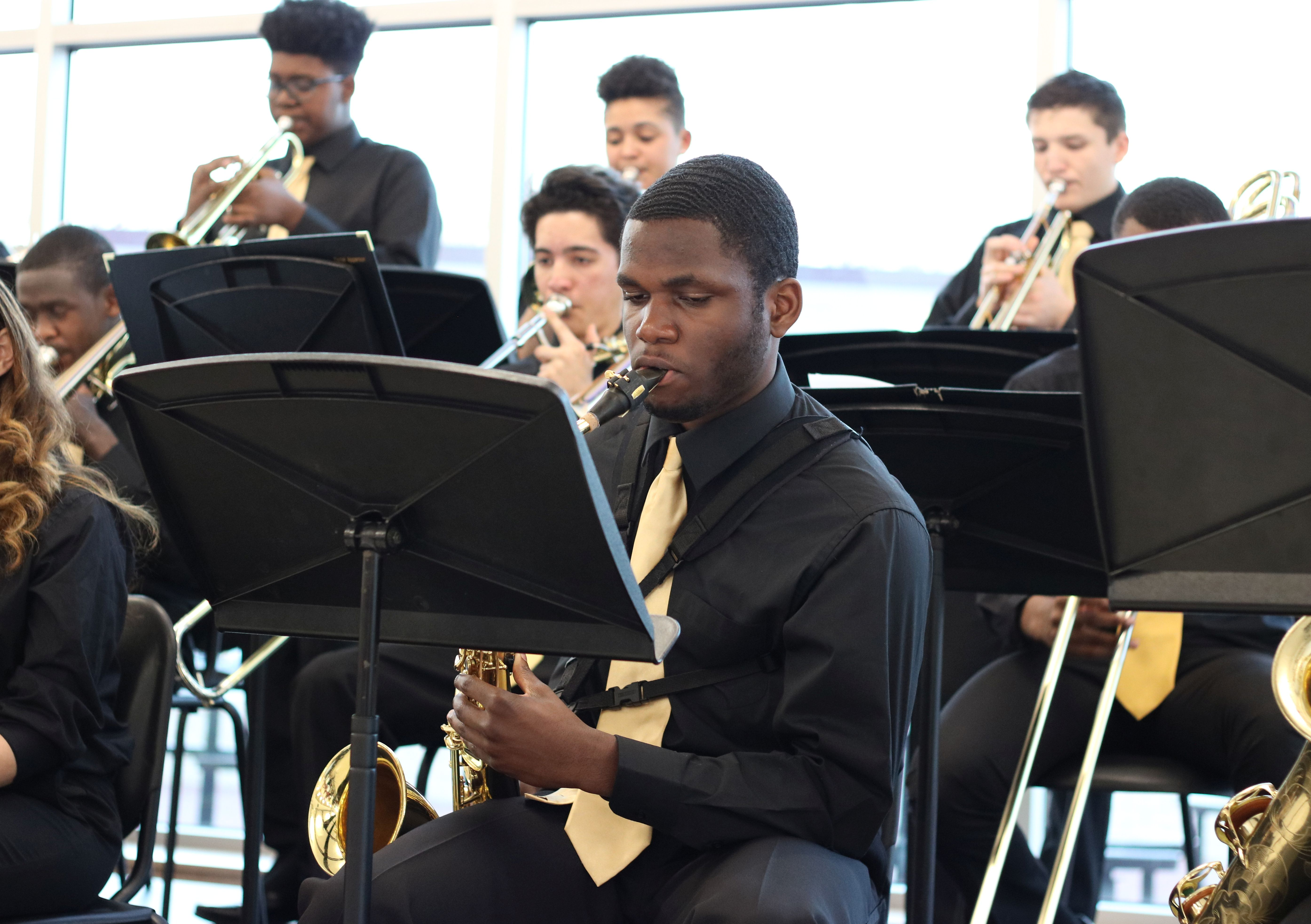 Jazz Ensemble performs, saxophone player