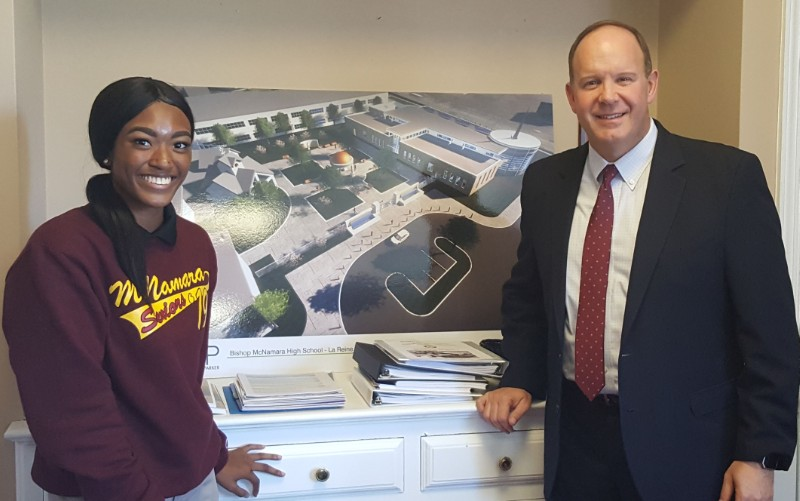 Jalyn Lagman '19 spotlighted Bishop McNamara President/CEO Dr. Marco Clark '85