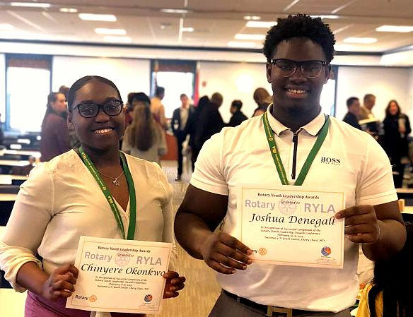Chinyere (Chi Chi) Okonkwo '20 and Joshua Denegall '20 recognized by The Rotary Club of Upper Marlboro for leadership skills