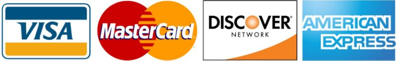 Credit cards accepted - VISA, MasterCard, Discover and American Express